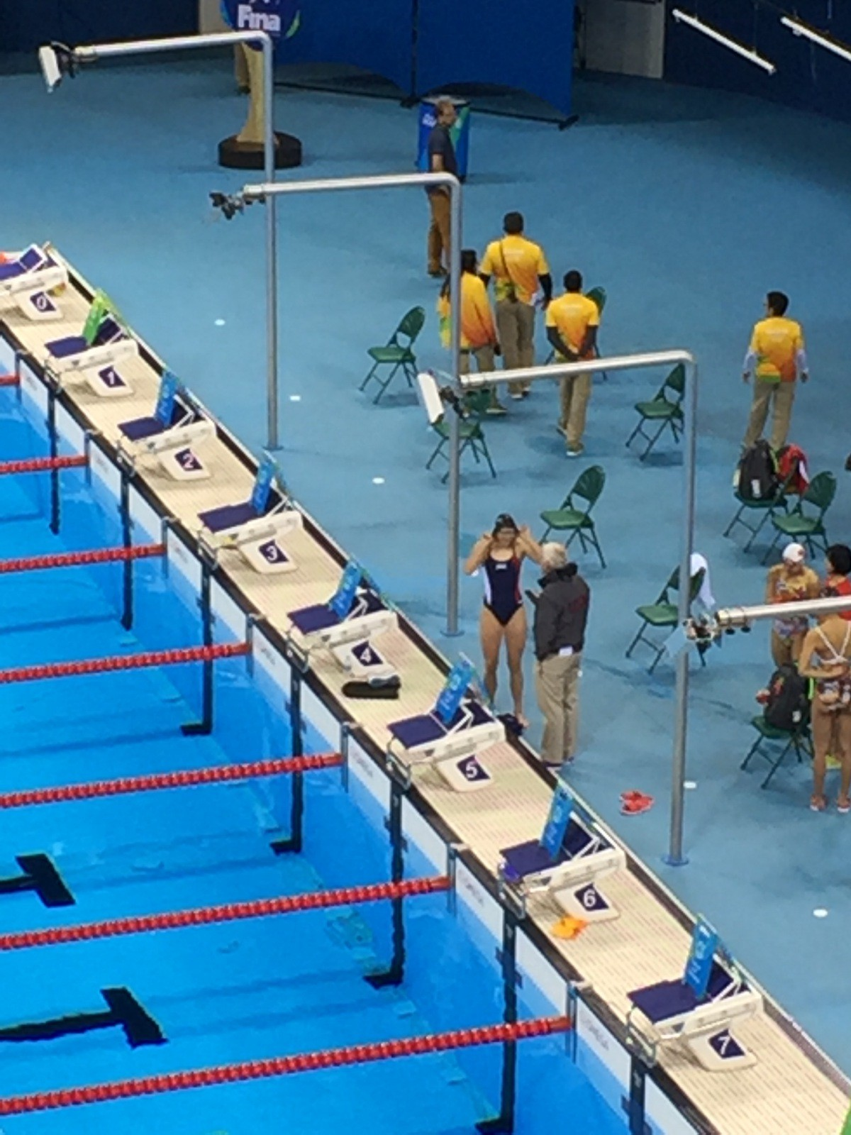 Katie Ledecky and Bruce Gemmell getting ready for warm-ups in Rio