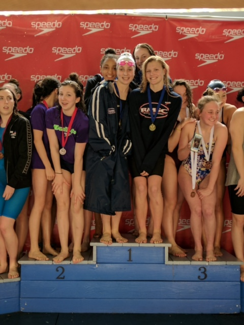 RMSC's 1st place 400 medley relay (left to rt: Tia Thomas, Abby Carr, Hannah Owings, Molly Benson)